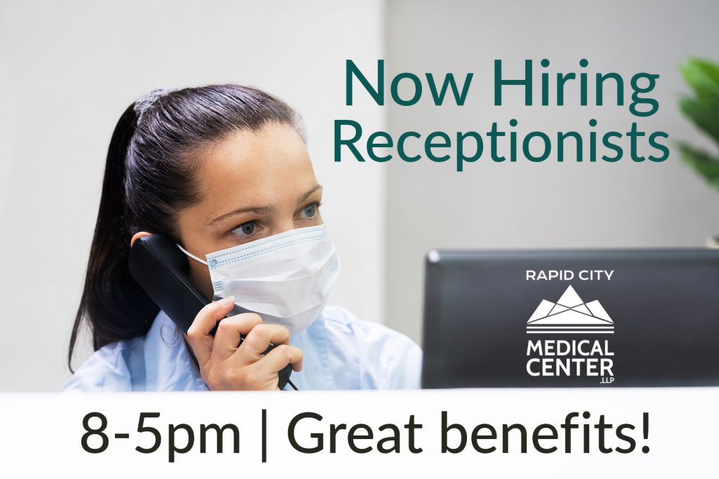 """A female receptionist holds a phone to her ear, wearing a mask. Image text says """"now hiring receptionists, 8-5pm, great benefits."""""""
